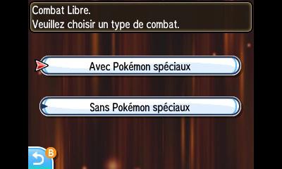Pokémon autorisés dans les Combats Libres du Coin Combats