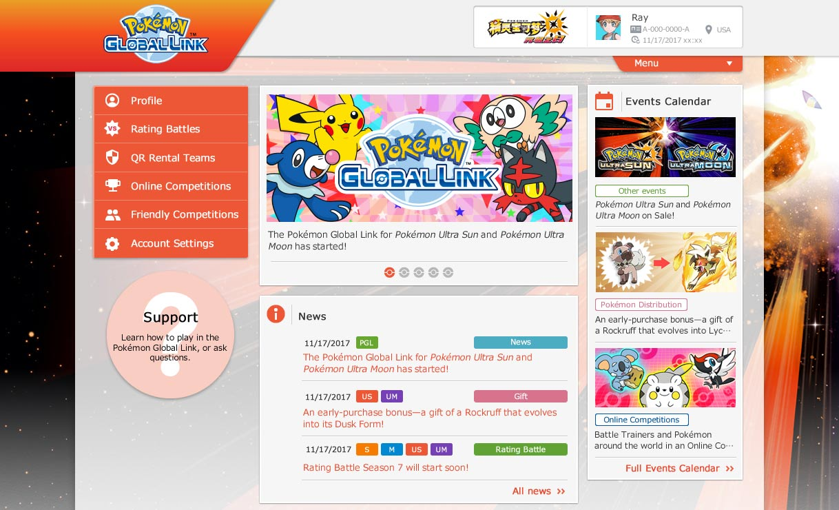 Pokémon Global Link Pokémon Ultra-Soleil et Pokémon Ultra-Lune