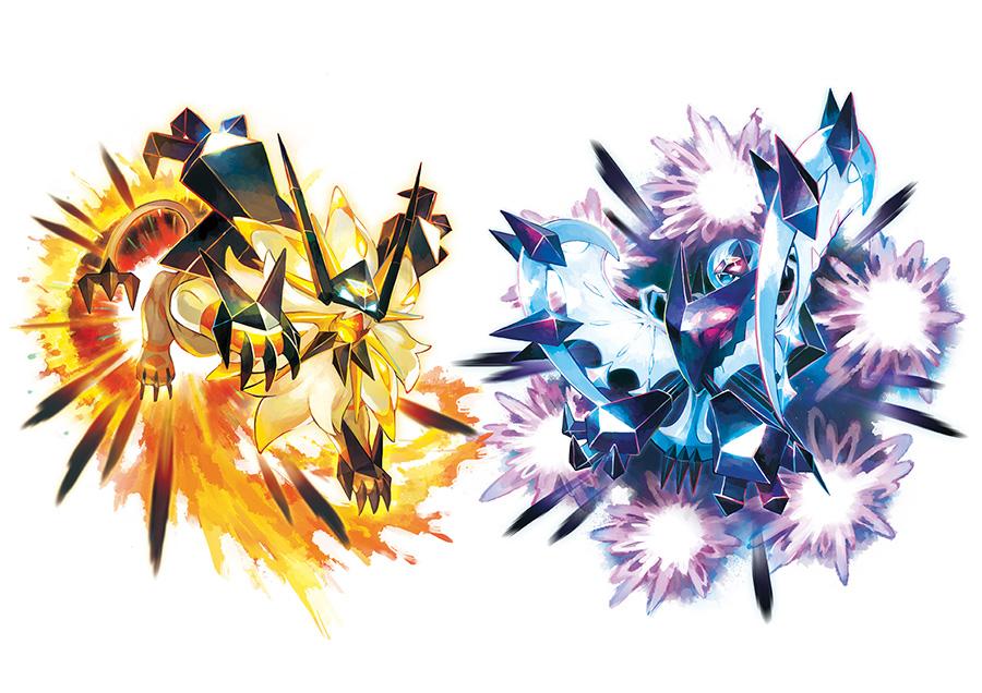 Deux formes de Nécrozma Pokémon Ultra Soleil et Ultra Lune
